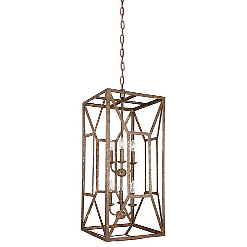 Marquelle Tall Chandelier, Distressed Gold