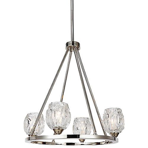 Rubin 4-Light Chandelier, Clear/Nickel