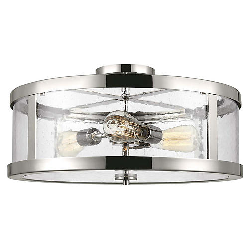 Harrow 3-Light Semi-Flush Mount, Polished Nickel