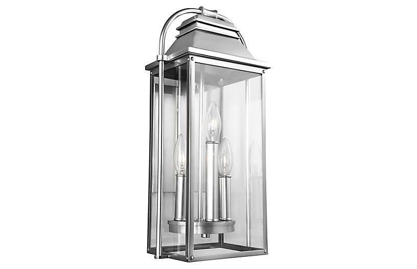 Wellsworth Outdoor Lantern Sconce, Brushed Steel
