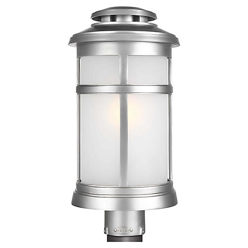 Newport Outdoor Post Lantern, Brushed Steel