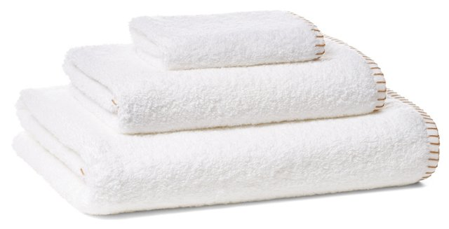 Whip-Stitch Towel Set, Fawn