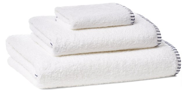 Whip-Stitch Towel Set, Navy