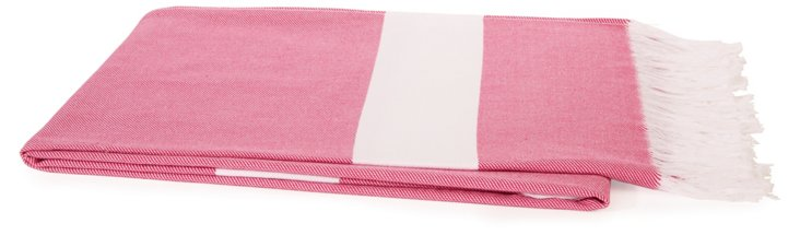 Fringed Cotton Throw, Pink