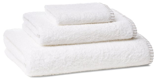 Whip-Stitch Towel Set, Gray