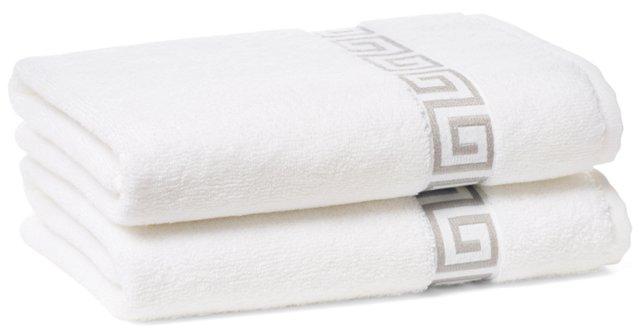 S/2 Greek Key Hand Towels, White/Gray