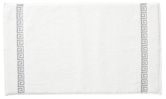 Greek Key Tub Mat, White/Gray