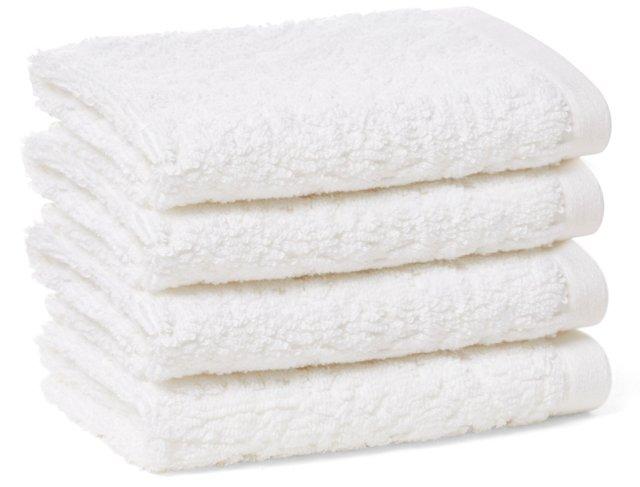 S/4 Scroll Jacquard Washcloths, White