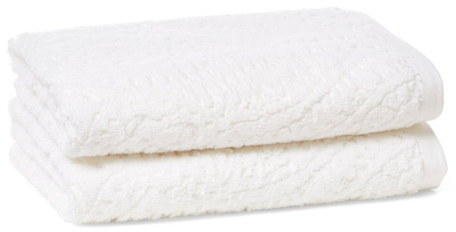 S/2 Scroll Jacquard Hand Towels, White