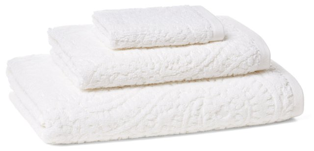 3-Pc Scroll Jacquard Towel Set, White
