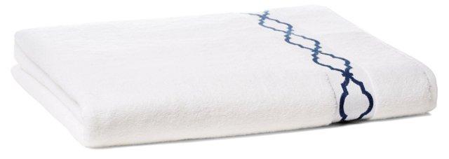 Trellis Bath Sheet, Navy