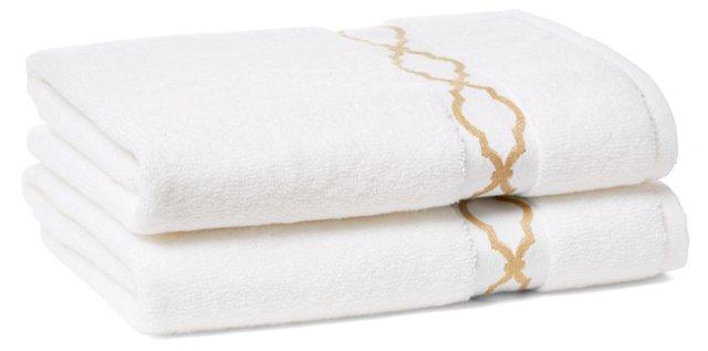 Set of 2 Trellis Hand Towels, Dune