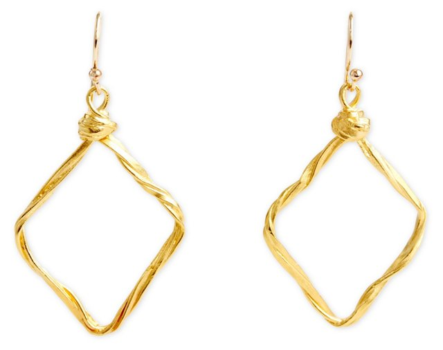 Wiry Diamond Shape Drop Earrings