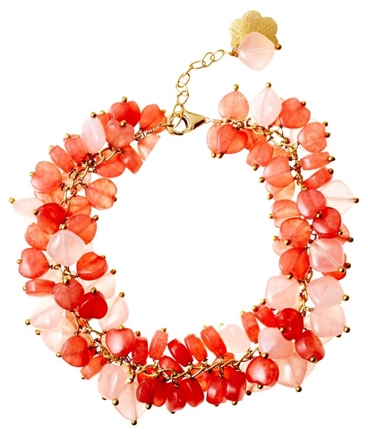 Kisses of Quartz Pink Ruffle Bracelet