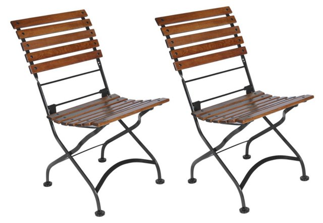 Vienna Folding Side Chairs, Pair