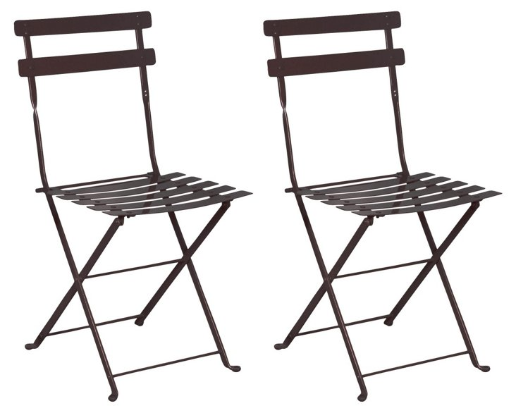 Jet Black Amsterdam Side Chairs, Pair