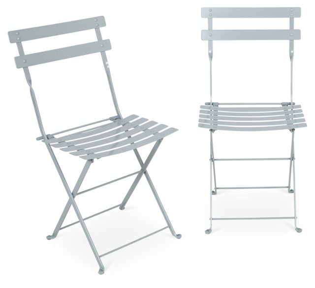 Silver Amsterdam Side Chairs, Pair