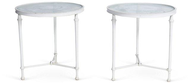 Round Vintage Tables, Pair