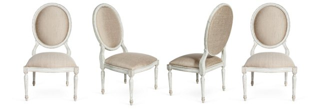 Oval Dining Chairs, Set of 4