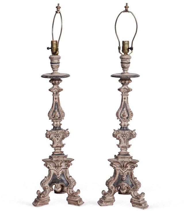 Ceramic Lamps, Pair
