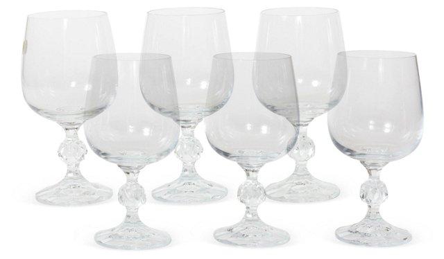 Crystal Wine Glasses, Set of 6