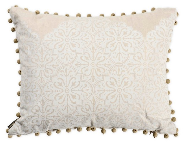 Printed Ivory Linen Pillow