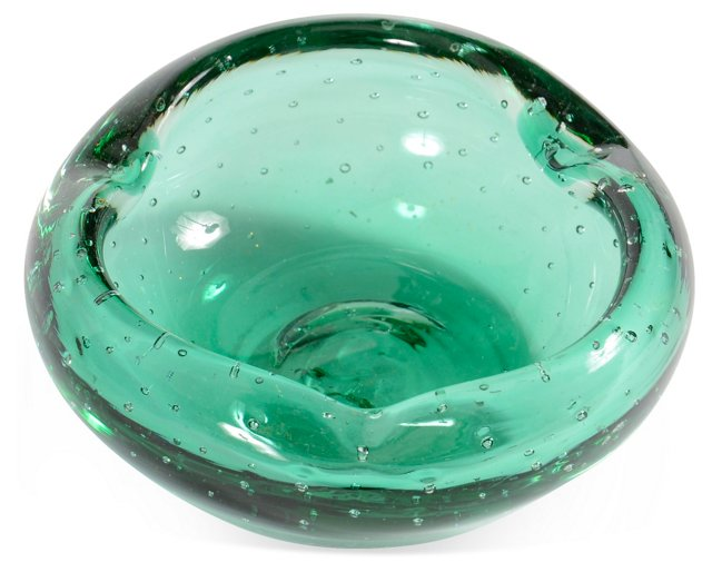 Green Seeded Glass Bowl