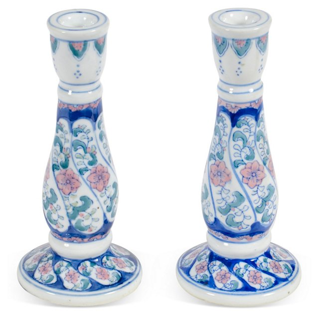 Painted Candlesticks, Pair