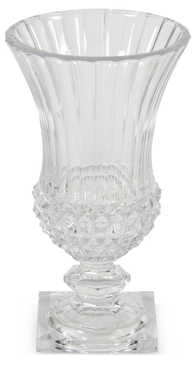 Val Saint Lambert Crystal Vase, Signed