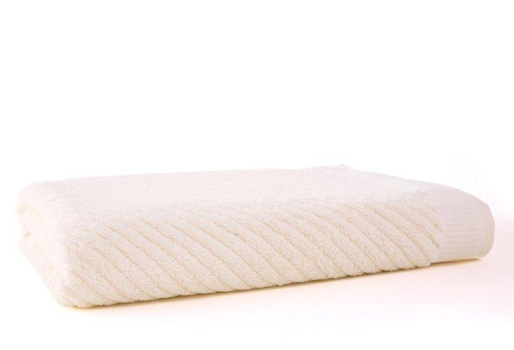 Diagonal Bath Sheet, Ivory
