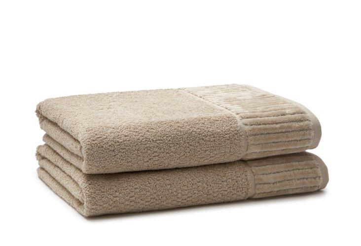 S/2 Amour Bath Towels, Linen