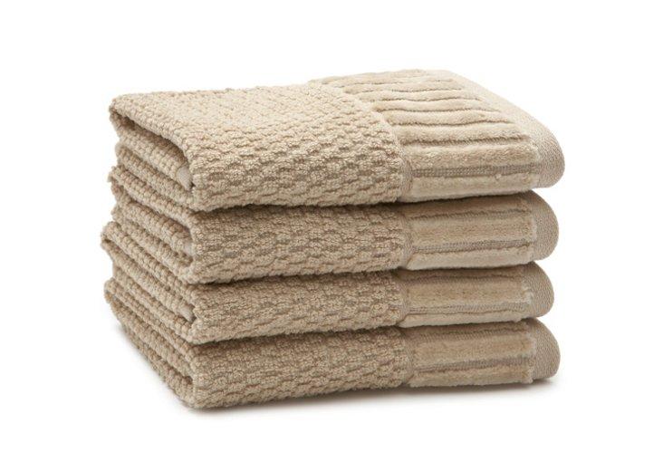 Set of 4 Amour Washcloths, Linen