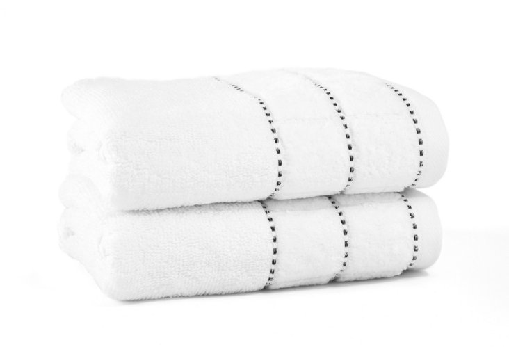 S/2 Heath Hand Towels, White/Black