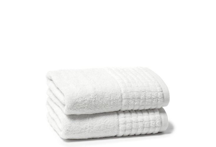 S/2 Ecstasy Hand Towels, White