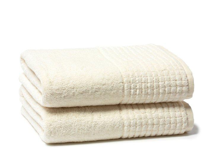 S/2 Ecstasy Bath Towels, Ivory