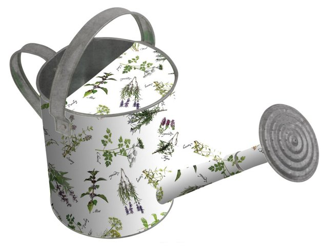 "18"" Herb-Print Watering Can, White/Green"