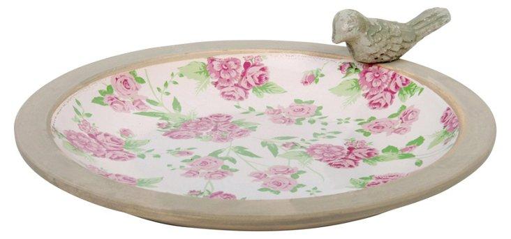 "14"" Ceramic Rose Print Birdbath"