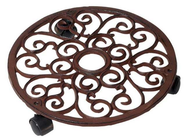 "11"" Round Cast Iron Plant Trolley, Brown"