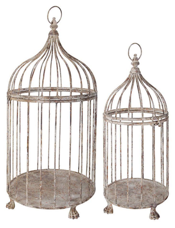 Aged-Metal Birdcages, Asst. of 2