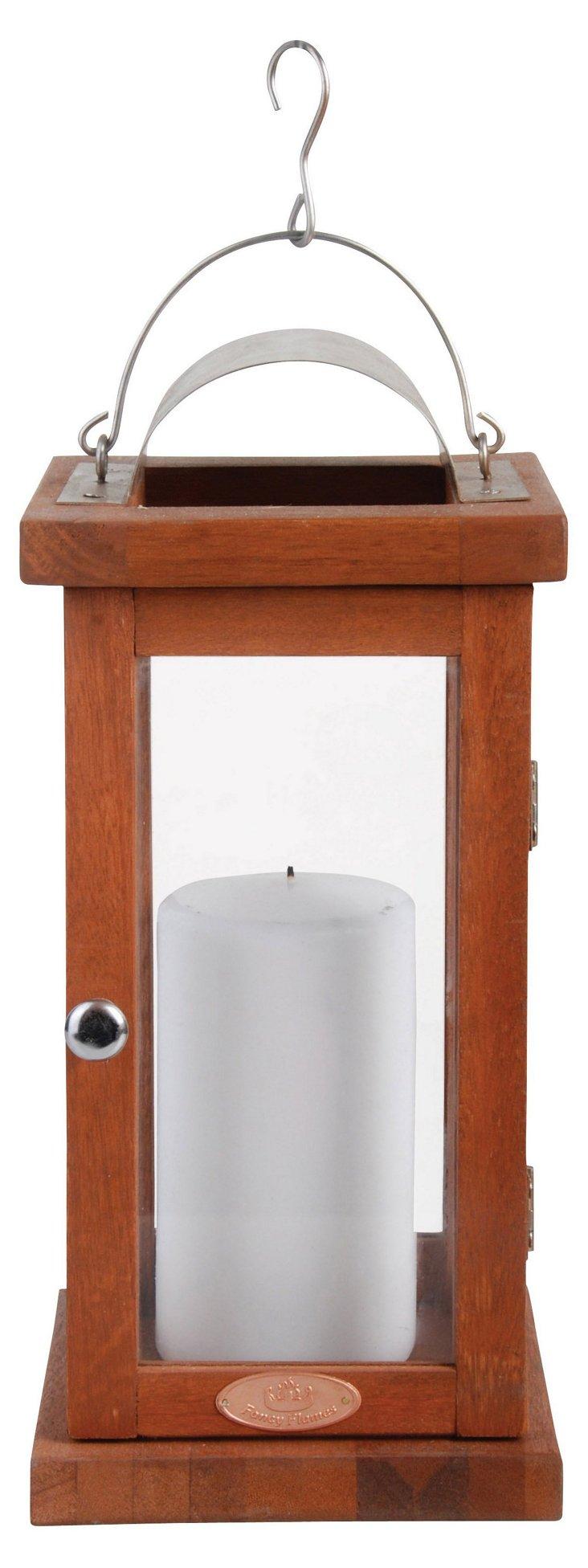"""14"""" Hardwood Lantern, Brown"""