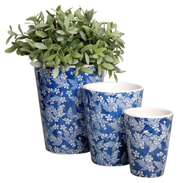 S/3 Blossom Round Flowerpots, Blue