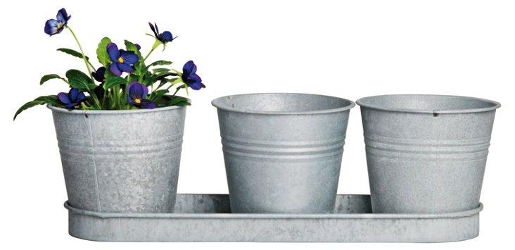 S/2 Zinc Triple Flowerpot Trays, Gray