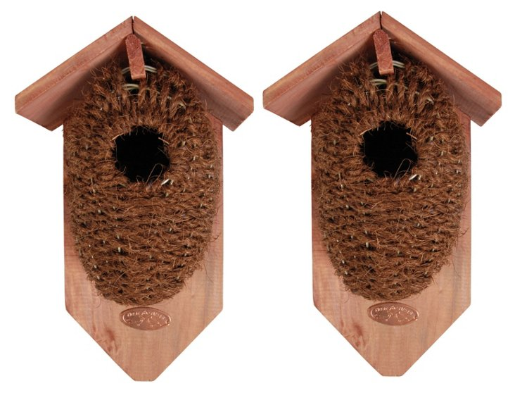 S/2 Wicker & Wood Birdhouses, Brown