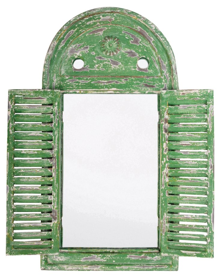 Louvered Mirror, Distressed Green