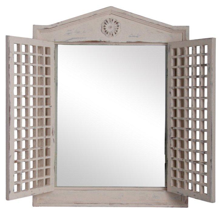 Mirror with Lattice Doors