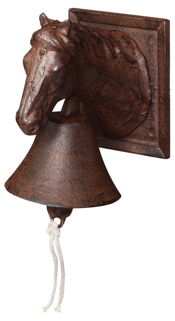 """8"""" Cast Iron Horse Doorbell, Brown"""