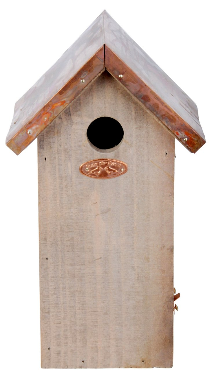 "12"" Pinewood & Copper Birdhouse"