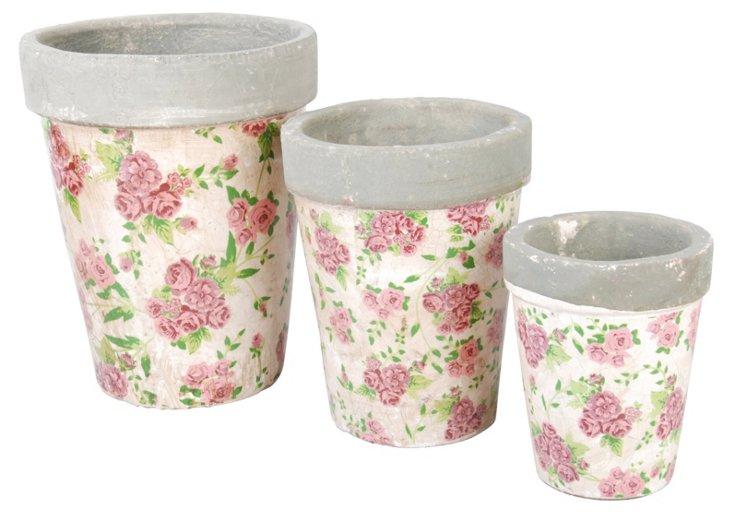 S/3 Rose-Print Nesting Pots
