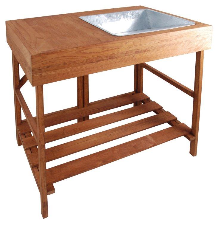 """34"""" Hardwood Potting Table, Brown"""