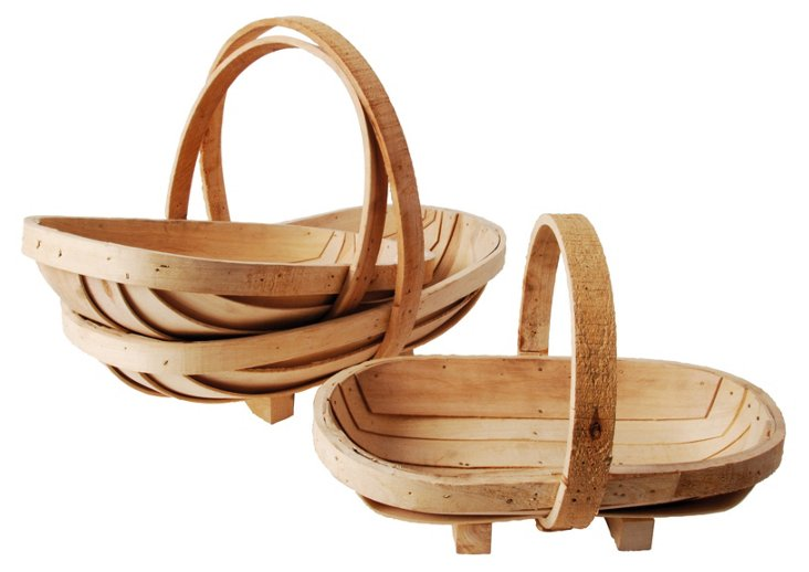 Asst. of 3 Wooden Sussex Trugs, Brown